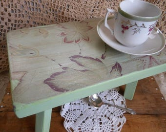 Boho Wooden Paisley Mint Green Stool Vintage Upcycled by Quilted Nest