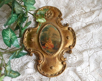 Florentine Italy Wooden Gold Cross Vintage at Quilted Nest