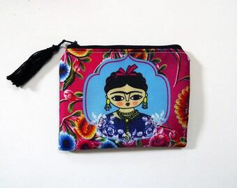 Frida Kahlo pink purse, original illustration. 10.5 x 13 cm.