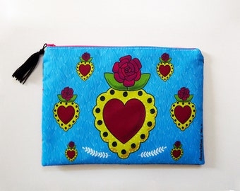 Heart cosmetic bag, makeup bag, pencil bag, Mexican tin folk art, mexican heart, mexican art