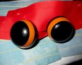 Bakelite Domed Black and Orange Clip Back Earrings REERVED
