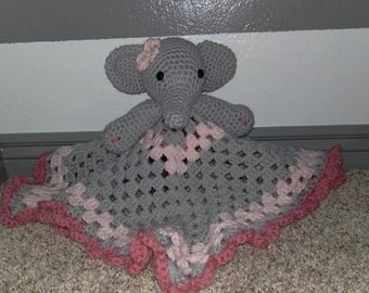 Lovey Security Blanket Elephant Lovey Crochet Elephant Lovey for Baby