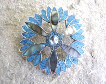 Vintage Sterling Silver Abalone Brooch Pendant Lapis Taxco Signed 1960s from AllieEtCie
