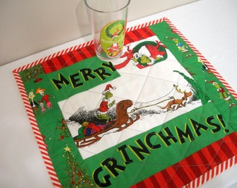 Grinch Placemat Dr. Seuss Christmas Quilted Quiltsy Handmade FREE U.S. Shipping Merry Grinchmas