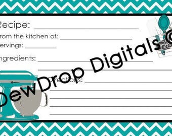 INSTANT DOWNLOAD Turquoise Chevron recipe card to match our Bridal Wedding Shower Digital Invitation Personlized you printInvite Bride Groom