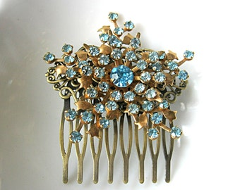 Sparkling blue rhinestone starburst brooch hair comb for bride, bridesmaid, brides mother, grooms mother, holiday party, antique bronze comb