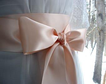 Rose pink / Peachy pink wedding sash, bridal sash, bridesmaid sash, bridal belt, dress sash, gown sash, 3 inch satin ribbon