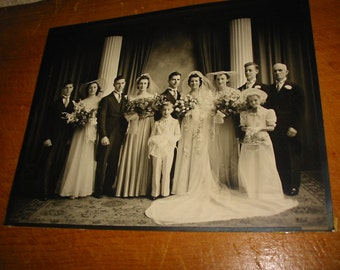 Vintage Wedding Party Studio Photograph 1920's Wedding Gown Photo Old Ring Bearer Bridal Flowers Photo