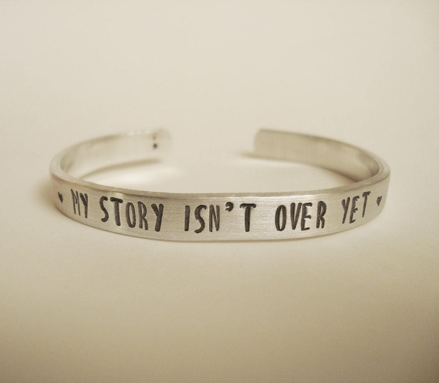 My Story Isn't Over Yet Hand Stamped Aluminum Bracelet Suicide Prevention Semicolon