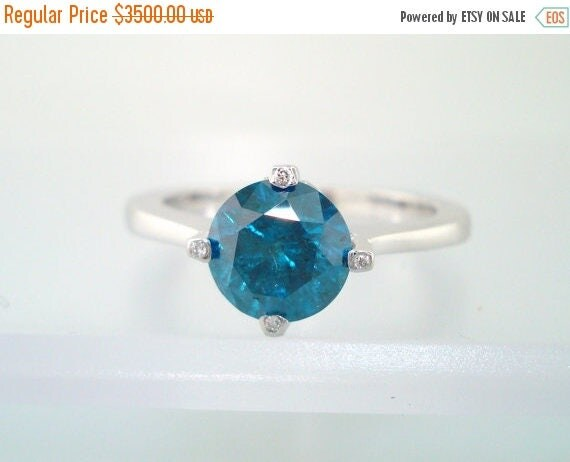 ON SALE 1.23 Carat SI1 Blue & White Diamond Solitaire Engagement Ring 14K White Gold HandMade Unique  Ring