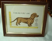 1980s Handmade Cross Stitch of Dachshund Wiener Dog Framed.