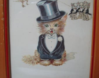 VintageFluffy Kitten Kittens in Tuxedos and Top Hat Colorful Framed Print.