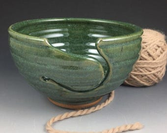 Yarn Bowl,  Knitting and Crochet Bowl,   Large Ceramic Yarn Bowl in Green,  Pottery Yarn Bowl,  Knitting Gift,  In Stock and Ready to Ship