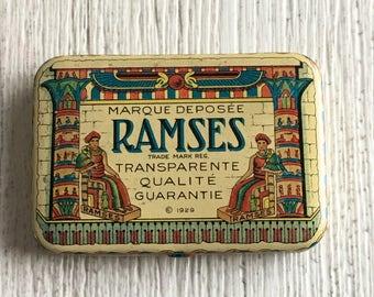 Vintage Condom Tin Ramses Flapper Era Egyptian Motif Prophylactic Container