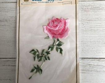 Embroidered Pink Rose Sew-On Appliqué Trim NOS