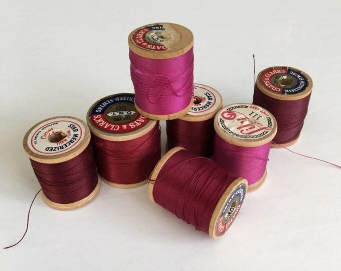 Vintage Wooden Spools Burgundy Merlot Wine Thread Lot