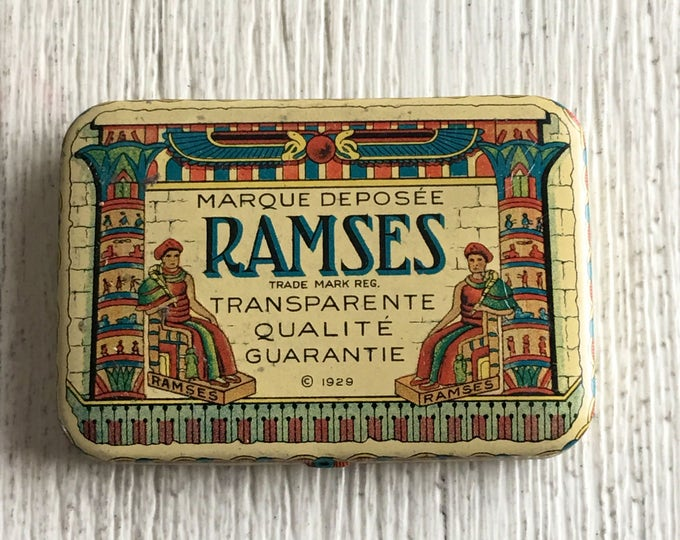 Vintage Condom Tin Ramses Flapper Era Egyptian Motif Prophylactic Container