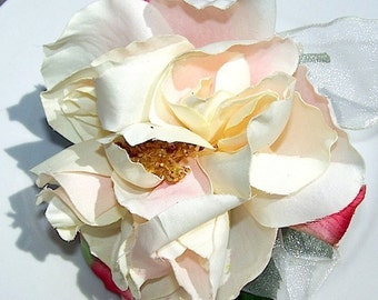 English Garden Silk Rose Corsage for Mothers