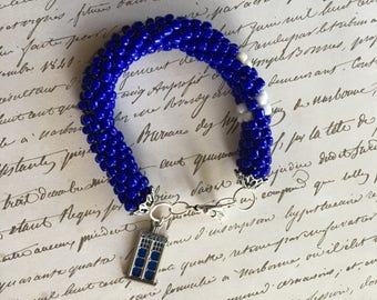 Doctor Who TARDIS Inspired Beaded Bracelet with Charm Ready to Ship Cosplay