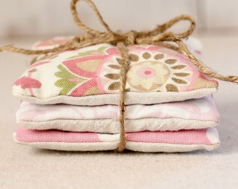 Set of 3 Pink Lavender Sachets - Pink Polka Dot - Pink Damask - Pink Floral - Home Fragrance - Pillow Sachet -Gift For Her