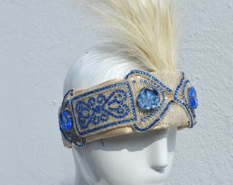 vintage costume made art deco flapper 20's headband hat crown glam jazz by the kaliman