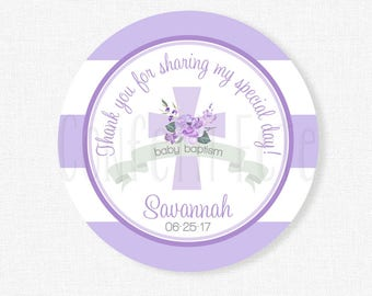 Baptism Thank You Tag, Baby Dedication Tag,  Religious Girl Baby Tag, First Holy Communion Tag, Personalized