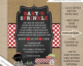 Baby Q invitations, Neutral Gender BBQ, FREE SHIPPING digital or printed, couples baby q shower, baby q sprinkle invites, chalkboard burlap
