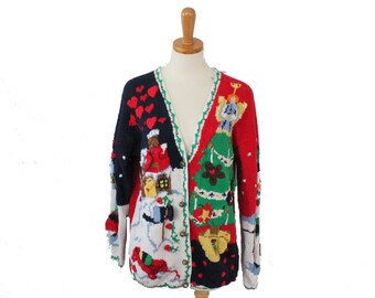 Vintage 90s INSANE Busy Tacky Ugly Christmas Sweater // Women Medium, Men Small // Eagle's Eye