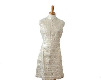 60% off sale // Vintage 60s Ivory and Gold L'Aiglon Party Dress  - Women S M - Greek Letter Pattern