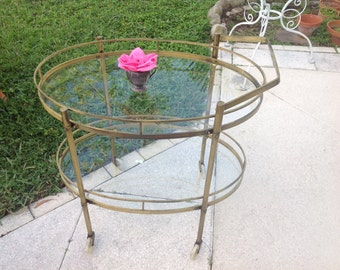 MID CENTURY BAR CARt on Castors / Vintage Brass Tea Cart Bar Hollywood Regency Style at Retro Daisy Girl