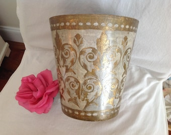 "VINTAGE ITALIAN WASTEBASKET 10 1/2"" tall x 10"" wide / Florentine Italian Wastebasket / Gold Gilt and Cream Cottage Style at Retro Daisy Girl"
