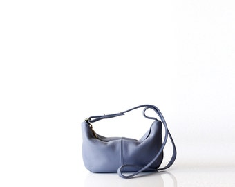 Pebbled leather sling bag OPELLE Micro Roberta Sling mini hobo handbag Washed BLUE