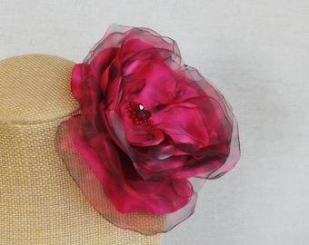 Flower Fascinator in Hot Pink Satin & Organza