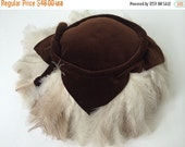 Reseved 1940s Feather Tilt Hat Brown Ostrich Feather Plumes Couture Millinery Art Deco