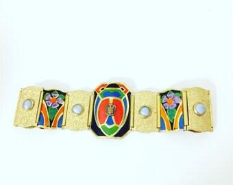 Art Deco Enamel Egyptian Revival Bracelet 1930s Brass Link Jewelry