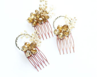 Mirrored Crystal Hair Comb- 3 Combs Set- Champagne Amber Gold- Bridal Rustic Wedding Hair Piece