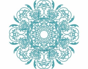 Wall deco art print, blue floral print, yoga meditation, mandala art print, living room, office decor (m01b-3)