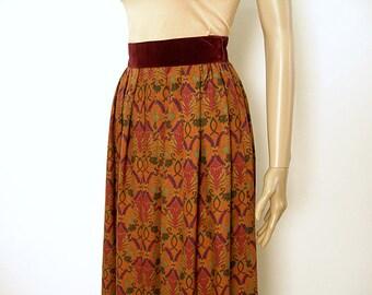 1980s Vintage Skirt Unusual Pumpkin Purple Green High Waist Lightweight Wool Blend Skirt / Small