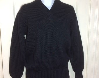 1940's WWII Military thick chunky wool Sweater looks size Large low gauge knit V-neck pullover long cuffs very dark Navy Blue black WW2