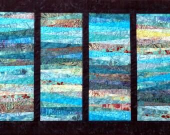 Mountain Streams Modern Quilted Batik art quilt wall hanging blues greens dark teal