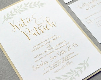 Calligraphy Wedding Invitation Suite, Rustic Wedding Pocket Invites, Laurel Wedding  Invitations, Gold And