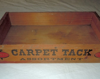 Vintage Cross carpet tack assortment Wooden advertising Crate wood box