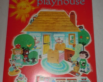 Vintage 1960s cut out childs activity book Playtime playhouse