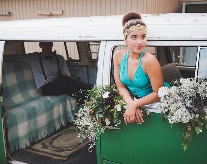 High/ Low cut Long Maxi Prom Infinity Wrap Dress- Shown in Laguna Pool Turquoise~ Grecian, Boho Prom, Bridesmaids, etc.
