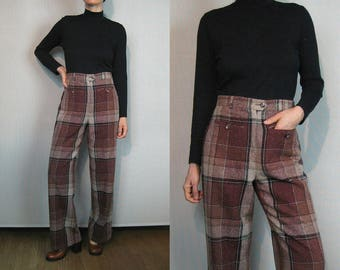 70s Marsala Plaid Wool Trousers / Flecked Tweed Wool Pants / Wide Leg Pants / Wide Leg Wool Trousers