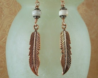 Western Rodeo Cowgirl Earrings - White Howlite with Copper Feathers