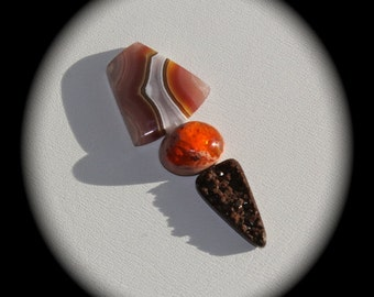 SET Agua Nueva agate, Mexican fire agate and natural brown druzy quartz cabochons -  very rare, for jewelry making, wire wrap, DESTASH