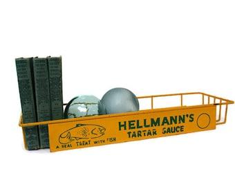 Vintage Wire Shelf /  Advertising Display / Hellmann's Tartar Sauce  / Spice or Kitchen Rack for Beach Cottage or Nautical Decor