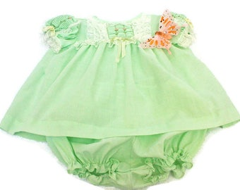 Vintage Baby Dress (c. 1950's) Mint Green Dress with Matching Pantie Diaper Cover  /  Infant Girl  /  Baby Shower Gift  /  Two Piece Size 0