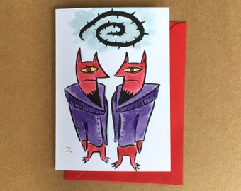 Greeting Card - Twin Rockstars of Hell (FREE DOMESTIC SHIPPING)